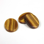 Gemstone Flat Back Single Bevel Buff Top Stone - Oval 16x12MM TIGEREYE