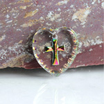 German Glass Engraved Buff Top Intaglio Pendant - Cross Heart Shape 15x14MM CRYSTAL HELIO RED
