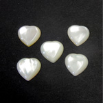 Shell Flat Back Cabochon - Heart 12MM WHITE MOP