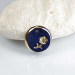 Glass Engraved Intaglio Flower Pendant with Chaton Insert - Round 12MM LAPIS BLUE with GOLD