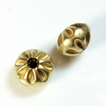 Brass Corrugated Bead - Fancy Melon Mushroom 14MM RAW
