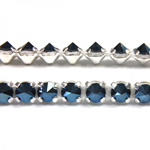 Preciosa Metal Spike Banding 1 Row - Round 15SS BLUE FLARE/SILVER