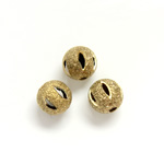 Brass Bead - Lead Safe Engraved & Pierced - Round 06MM RAW Unplated