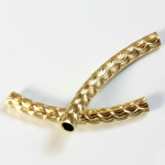 Brass Curved Bead - Fancy Tube 35x4MM RAW