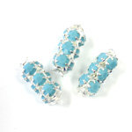 Preciosa Rhinestone Rondelle Crystal Tubes 16x7MM TURQUOISE/SILVER