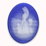 Synthetic Cameo Family Oval 40x30MM 2-TONE CatsEYE BLUE