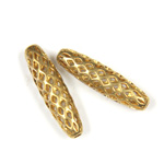 Brass Machine Made Bead - Diamond Cage Oval 05x19MM RAW BRASS