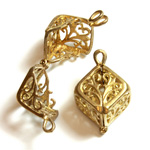Brass Bead Cage Pendant with Loop - Cube 24x13MM RAW Unplated