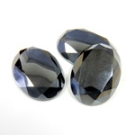 Gemstone Flat Back Stone with Faceted Top and Table - Oval 18x13MM HEMATITE