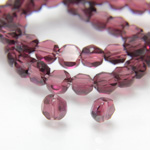 Chinese Cut Crystal Bead - Round Disc Side Drilled 04MM DARK AMETHYST