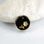 Glass Engraved Intaglio Flower Pendant with Chaton Insert - Round 12MM JET with GOLD