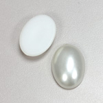 Plastic Medium Dome Pearl Cabochon - Oval 25x18MM WHITE