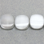Fiber Optic Synthetic Cat's Eye Bead - Smooth Lentil Square Antique 15MM CAT'S EYE WHITE
