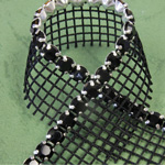Rhinestone Banding with MC Chaton 1 Row with Net One Edge - Round 19SS JET-BLACK-SILVER