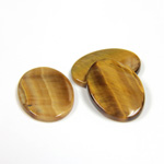 Gemstone Flat Back Single Bevel Buff Top Stone - Oval 18x13MM TIGEREYE