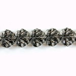 Czech Pressed Glass Engraved Bead - Leaf 11x13MM BLACK ON CRYSTAL