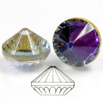 German Glass Flat Back Roulette Coated - Round 18MM CRYSTAL HELIOTROPE