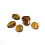 Gemstone Flat Back Single Bevel Buff Top Stone - Oval 08x6MM TIGEREYE