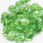 Chinese Cut Crystal Bead - Round Disc Side Drilled 06MM PERIDOT