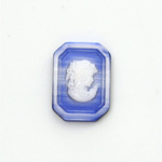 Synthetic Cameo Woman Cushion Octagon 25x18MM 2-TONE CatsEYE BLUE