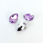Plastic Point Back Foiled Stone - Pear 14x10MM LT AMETHYST