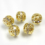 Filigree Rhinestone Ball with Center Line Crystals - 08MM CRYSTAL-GOLD