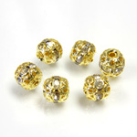 Filigree Rhinestone Ball with Center Line Crystals - 06MM CRYSTAL-GOLD