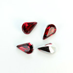 Plastic Point Back Foiled Stone - Pear 13x8MM RUBY