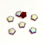 Czech Pressed Glass Bead - Star 08MM MATTE RUBY AB