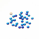 Glass Medium Dome Foiled Cabochon - Coated Round 03MM MATTE HELIO BLUE