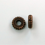 Metalized Plastic Bead - Ribbed Round Spacer 10.5MM ANT COPPER