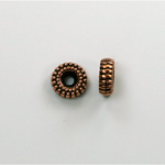 Metalized Plastic Bead - Ribbed Round Spacer 08MM ANT COPPER