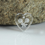 German Glass Engraved Buff Top Intaglio Pendant - 2-Rose Heart 12x11MM MATTE CRYSTAL