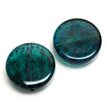 Plastic Bead - Two Tone Speckle Color Smooth Flat Round 22MM BLUE GREEN