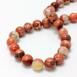Gemstone Bead - Smooth Round 12MM BRECIATED JASPER