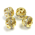 Filigree Rhinestone Ball with Center Line Crystals - 10MM CRYSTAL-GOLD