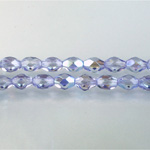 Czech Glass Fire Polish Bead - Oval 07x5MM 1/2 Coated LILAC AB 45117