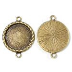 Cast Metal Setting with 20MM Recess 2- Loops 33x25MM Round ANTIQUE Brass PLATED