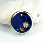 Glass Engraved Intaglio Flower Pendant with Chaton Insert - Round 18MM LAPIS BLUE with GOLD