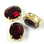 Crystal Stone in Metal Sew-On Setting - Oval 10x8MM SIAM RUBY-RAW