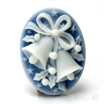 Plastic Cameo - Christmas Bells  Oval 40x30MM WHITE ON ROYAL BLUE