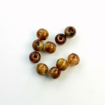Czech Pressed Glass Large Hole Bead - Round 06MM BROWNHORN