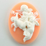 Plastic Cameo - 3 Cherubs Oval 40x30MM WHITE ON ANGELSKIN