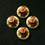 German Plastic Porcelain Decal Painting - 2 Roses (2094) Round 18MM IVORY