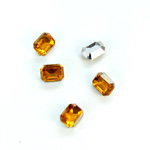 Plastic Point Back Foiled Stone - Cushion Octagon 08x6MM TOPAZ