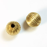 Brass Corrugated Bead - Round 12MM RAW