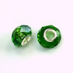 Glass Faceted Bead with Large Hole Silver Plated Center - Round 14x9MM EMERALD