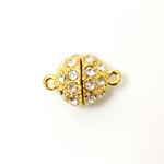 Magnetic Rhinestone Clasp - Round 12MM CRYSTAL SATIN GOLD