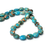 Gemstone Bead Smooth Lentil Oval 10x8MM SEA SEDIMENT JASPER DYED TURQUOISE