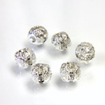 Filigree Rhinestone Ball with Center Line Crystals - 06MM CRYSTAL-SILVER